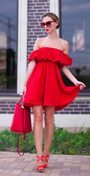 endless red off shoulder dress