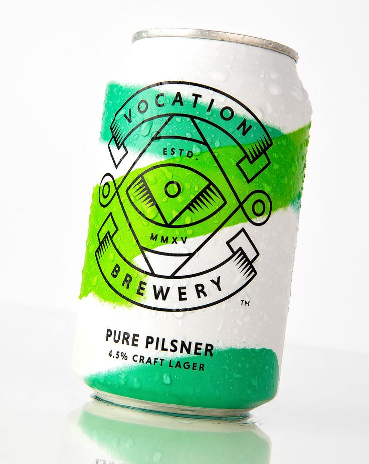White beer cans with neon sprays. Robot Food have designed the identity and packaging Vocation's new range of Pilsners.