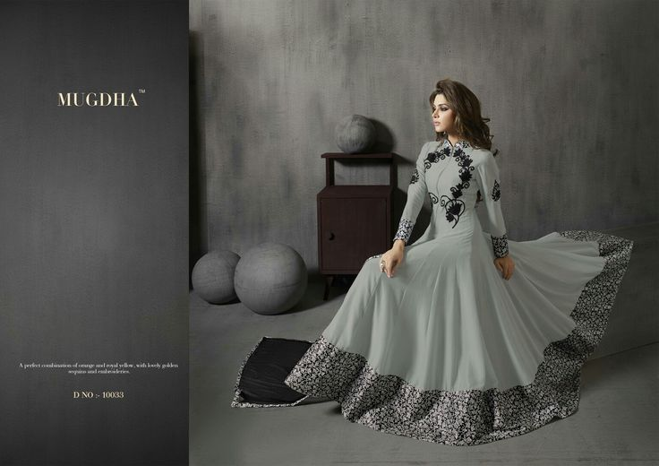 Smooth Grey with full flair,  anarkali dress, by Mugdha