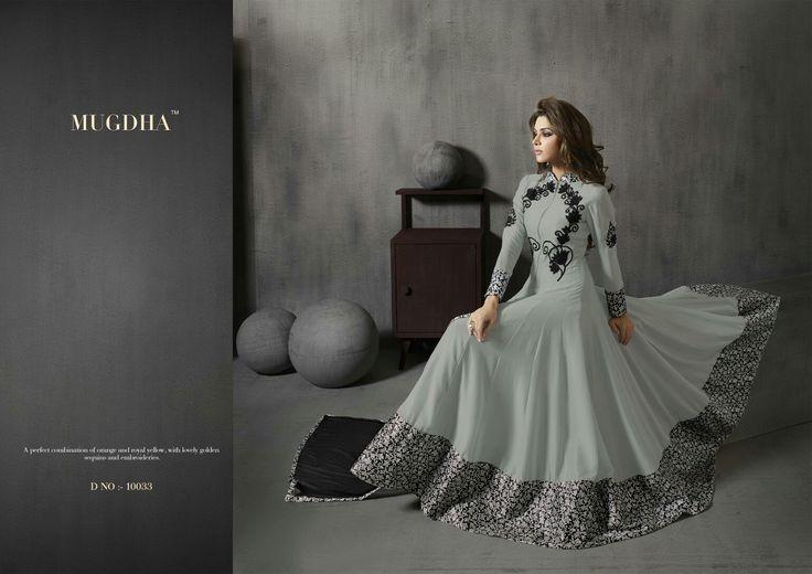 Smooth Grey with full flair,  anarkali dress, by Mugdha