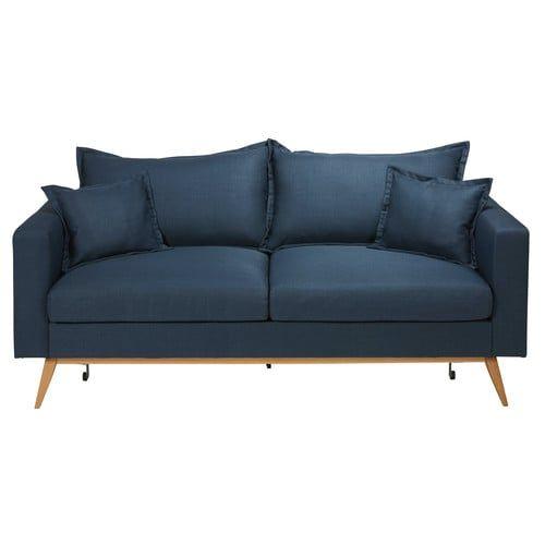 Canapé convertible 3 places en tissu bleu nuit