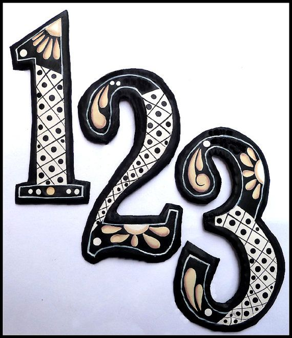 2 metal house numbers 7 12 hand painted metal by tropicaccents - Decorative House Numbers