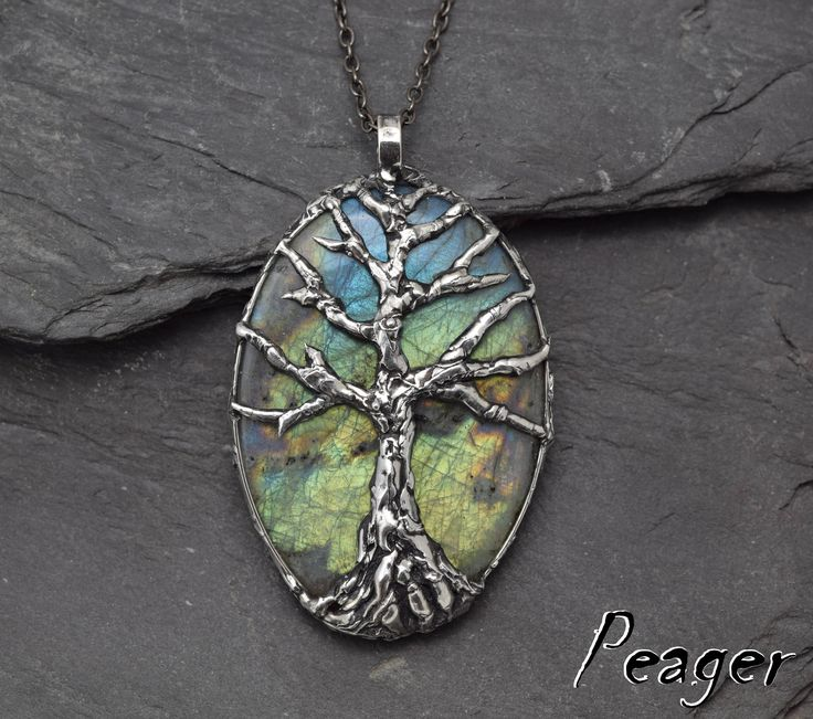 Tree Labradorite PendantStatement necklacemulticolor