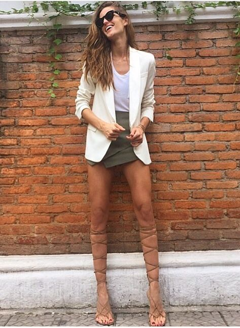 White blazer + lace up sandals.