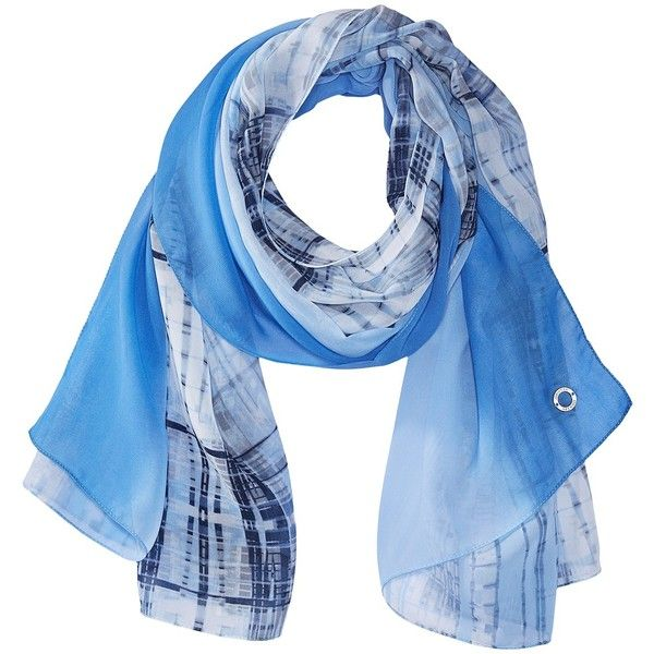 Calvin Klein Plaid Border Chiffon Scarf (Serene/Lavender Blue) ($38) ❤ liked on Polyvore featuring accessories, scarves, print scarves, long scarves, oblong scarves, blue shawl and chiffon scarves