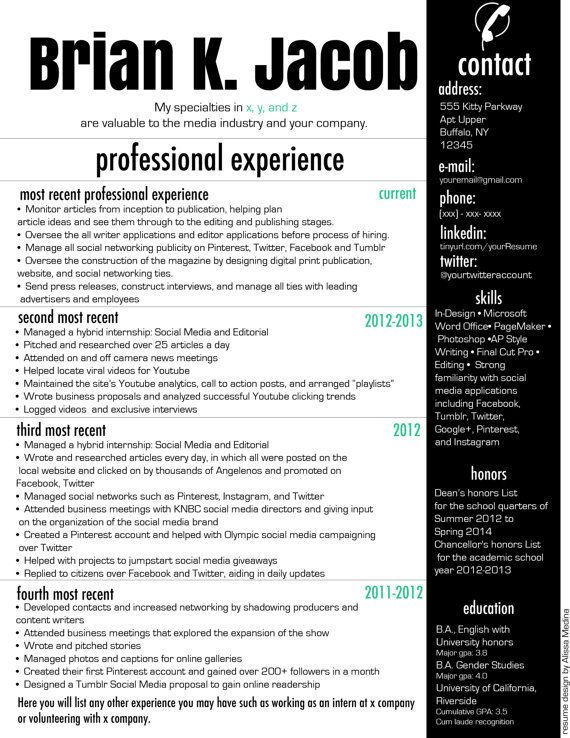 Professional Modern Resume By EnhanceExperience On Etsy, $15.00