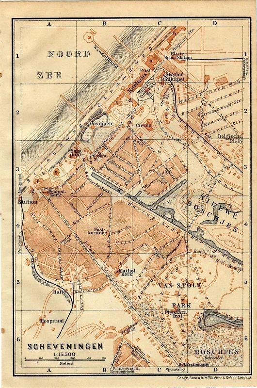 Antique map landkaart plattegrond Scheveningen 1914