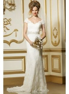 Court Train Lace Sheath Column Wedding Dress