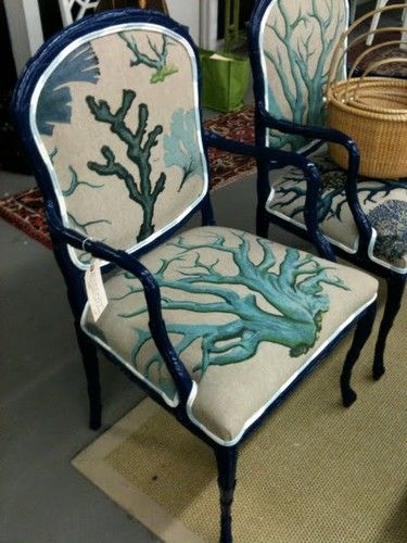 Coastal Living...amazing coral pattern chairs
