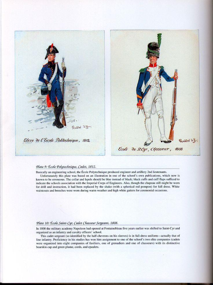 National Guard, Schools, Guards of Honor: Plate 9: Ecole Polytechnique, Cadet, 1812. + Plate 10: École Saint-Cyr, Cadet Chasseur Sergeant, 1808.