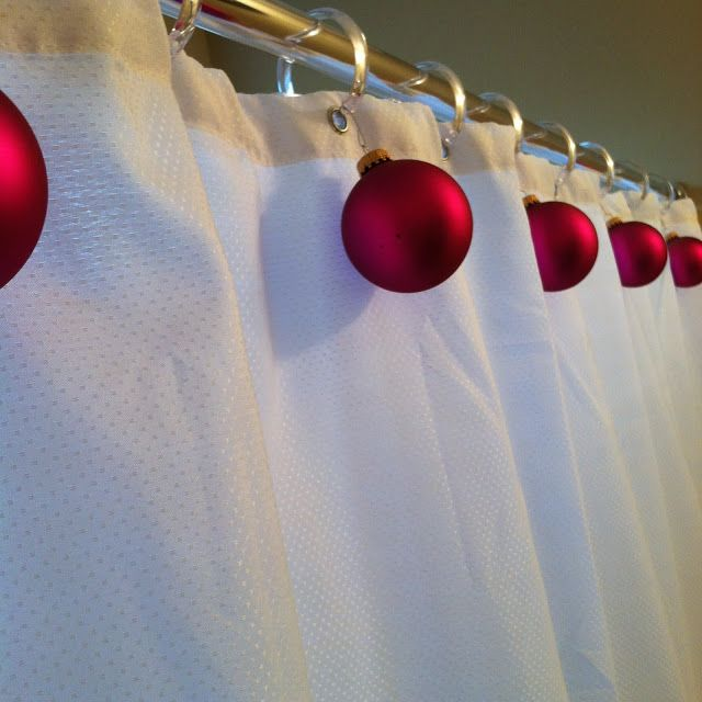 hang festive ornaments from your shower curtain rings for a fun way to dress up a plain shower curtain... Changing Seasons: Easy Winter Holiday Bathroom Decor from Bathroom Bliss by Rotator Rod