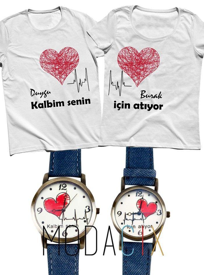 İsim Baskılı Çift & Sevgili Tişört Saat Kombini