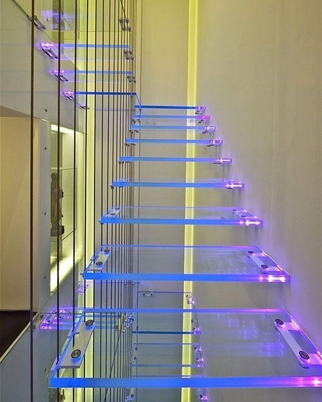 Illumitated lucite // .... So babe I've seen these stairs 💜💛✨✨✨ #apartment #penthouse #interior #interiordesign #light #colorful #neon #light #art #contemporaryart #cool #girl #fun #love #mood #neon #beauty #architecture