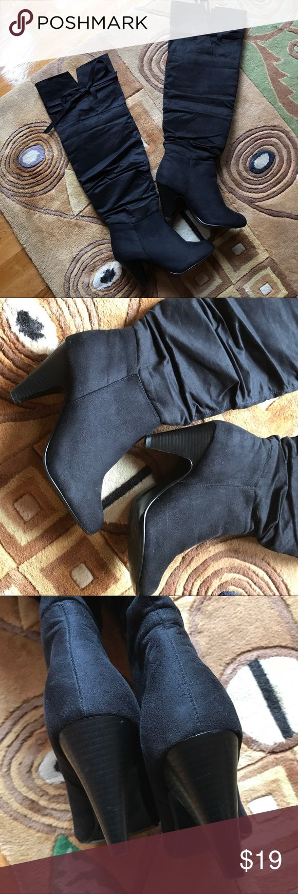Thigh high boots Black man made suede. Can be folded over. Gathered/wrinkled design. Worn once. Shoes Over the Knee Boots