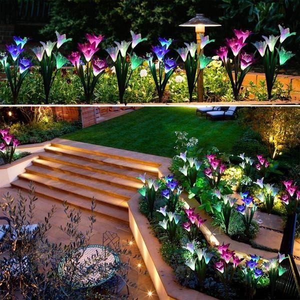 2 Pcs Solar Powered Led Flower Stake Set Solar Garden Stakes