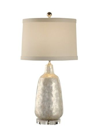 13132 Shell Covered Urn Capiz Lamp by Wildwood Lamps Lighting - 110% Price Match - Contemporary, Silver, Table Lamp, Free Shipping, No Tax.