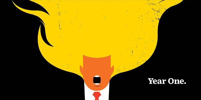 Clodagh Harrington, De Montfort University Anyone looking for a visual representation of Donald Trump's first year in office need only behold Time magazine's cover marking the anniversary. Composed by artist Edel Rodriguez, it depicts Trump as a furious, bellowing mouth, his notorious hair rendered in livid flames. For a year of poisonous rhetoric backed up with few substantial achievements, it could scarcely be more apt. Without even a glance at a policy checklist, the most casual observer…