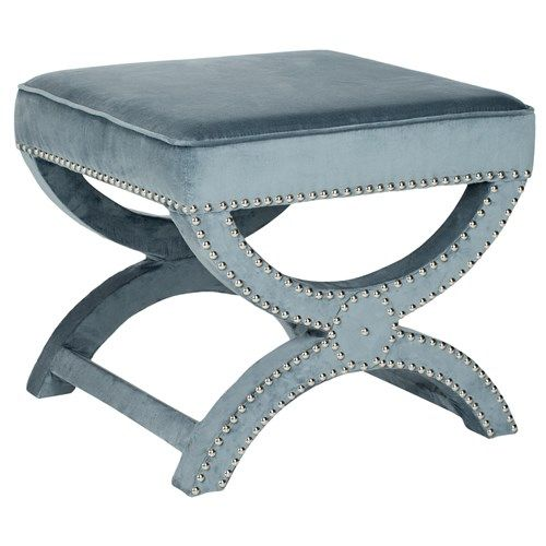 Mystic Wedgwood Blue Bench: Blue Velvet, Living Rooms, Mystic Wedgwood, Nailhead Details, Colors Blue, Nailhead Trim, Wedgwood Blue, Blue Benches, Nickel Nailhead