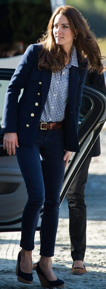 Kate Middleton with a Blue Gingham Fit Blouse and Navy Blazer and Skinny ankle Jeans by The Simply Luxurious Life