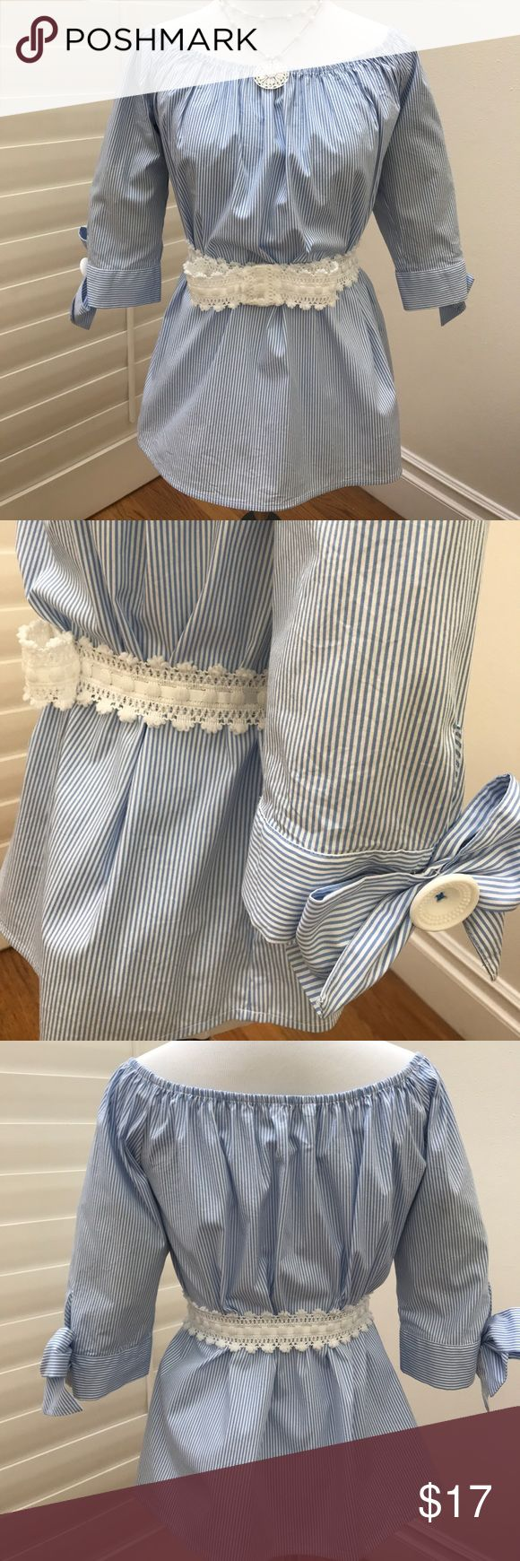 "FOREVER 21 Blue and White Top FOREVER 21 blue and white striped top, off the shoulder, size S, overall length 20"", sleeve length 15"", beautiful bow and big white button on sleeve, belt and necklace not included, new Tops"