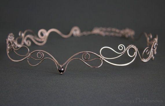 Elven tiara  Wire wrapped tiara   Elven diadem by StasyaWireWrap