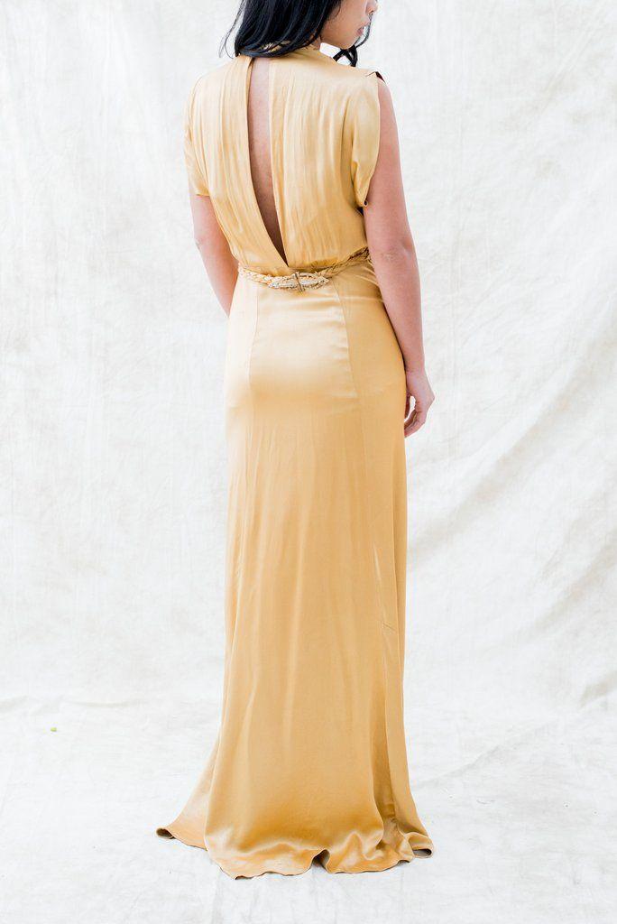 1930s Gold Satin Bias Dress - S