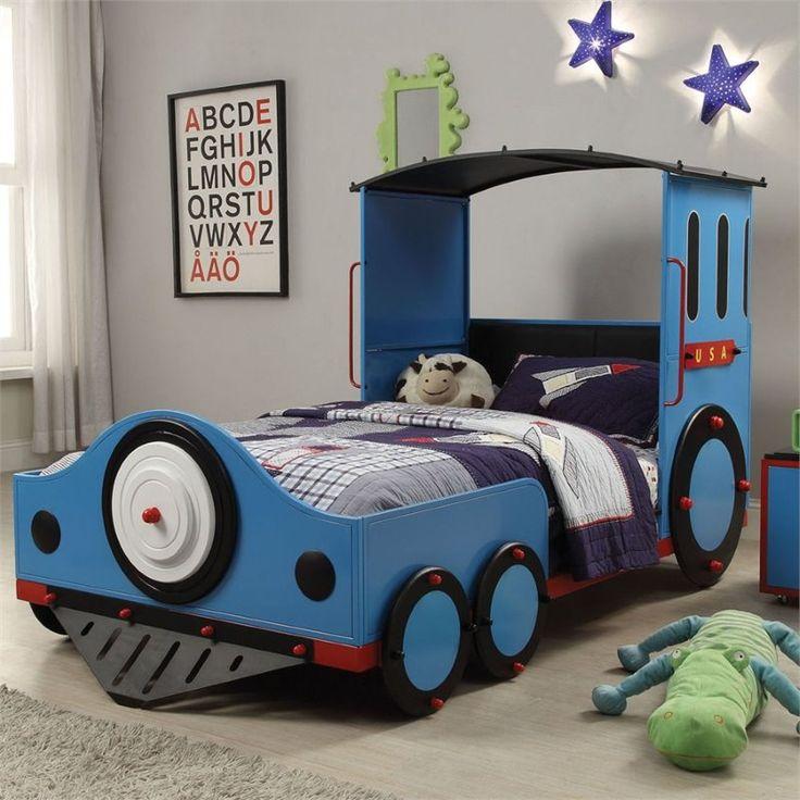 Tobi blue finish metal frame train locomotive twin sie kids bed set. This set fe…