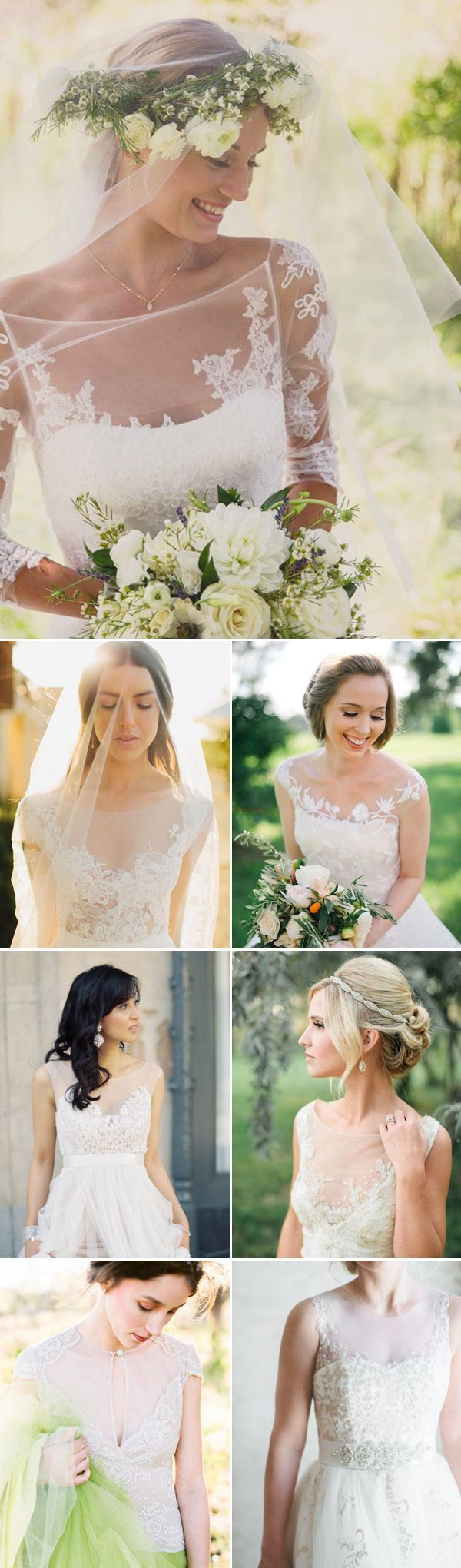 Illusion wedding dresses are all over the Bridal Market runways, and designers h…  – Neck lace wedding