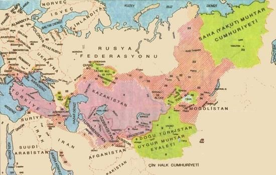 Distribution of Turkic peoples and language.