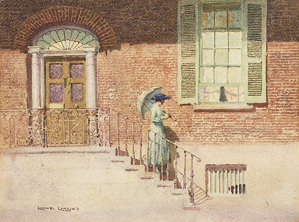 The doctor's house, Windsor by Lionel Lindsay 1919