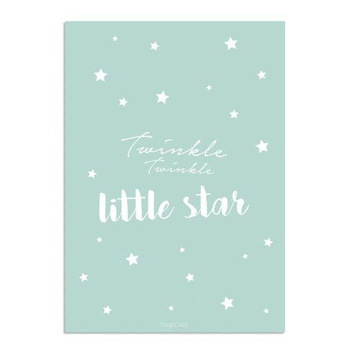 Kinderkamer poster – Mintgroen wit – Twinkle Twinkle Little Star