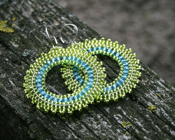 fresh lime  beautiful toho seed beads lime blue by koralikowyraj