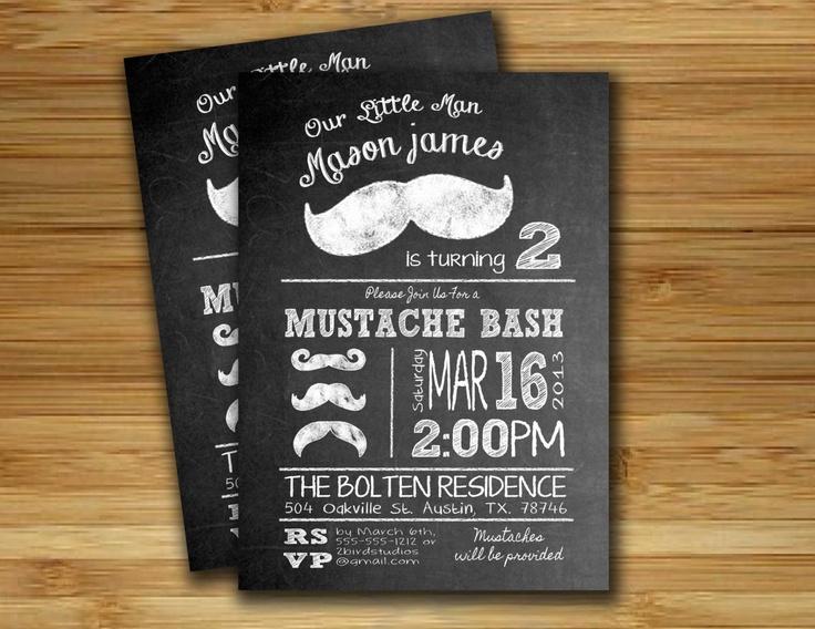 Mustache bash mustache birthday party invitation - mustache invitation - DIY printable little man chalkboard mustache invite. $18.00, via Etsy.