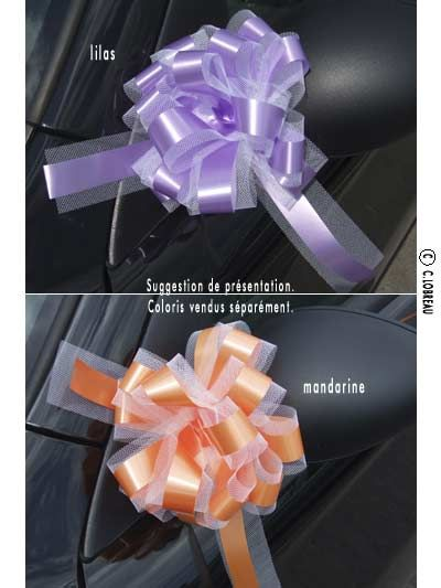 5 Noeuds automatiques avec tulle lilas ou mandarine