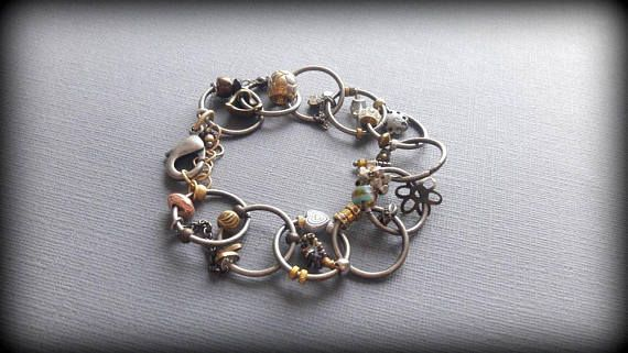 Chunky Boho Charm Bracelet Large  Silver Ring Links Mixed