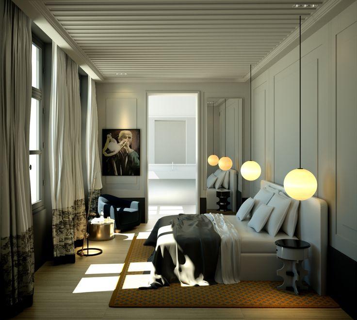 Hotel Bedroom Interior Design: Charles Zana - Architect