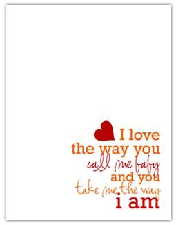 valentines day card. one of my favorite songs!