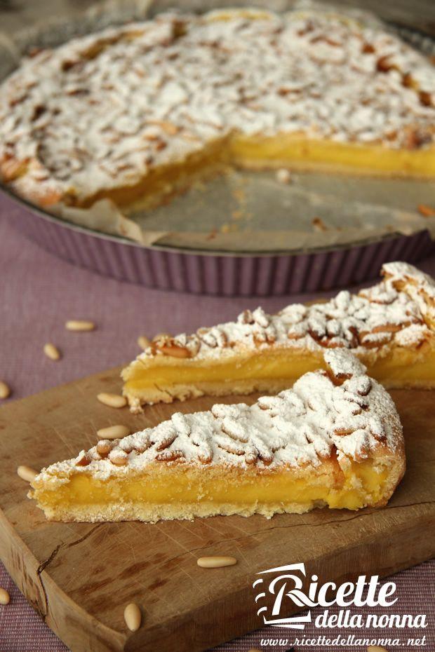 Ricetta torta della nonna #recipe #italia #crema #pinoli