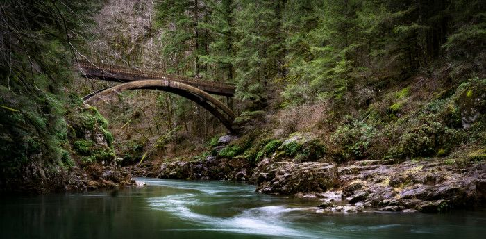 Moulton Falls, 4.0 miles  The Moulton Falls Trail offers a peaceful out-and-back hike in southwestern Washington along the Lewis River. You'll cross over this picturesque arch bridge with plenty of side routes along the way.
