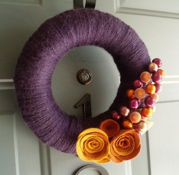 Normally I hate purple.  But I love these colors together.  Okay, no more yarn wreaths, I promise.
