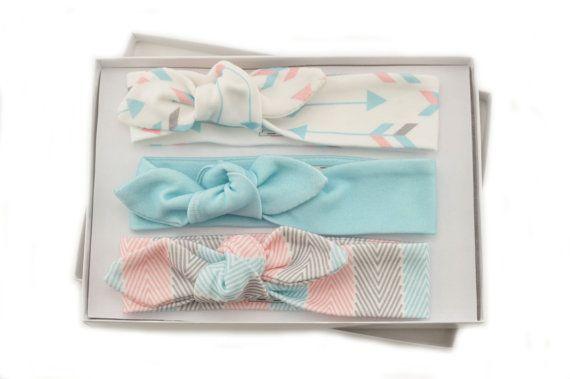 Baby Girl Headband Set/ Set of 3 Headbands/Organic Baby Headbands/Knotted Headbands/ Arrows/Chevron Stripe/Solid Blue Headbands.This