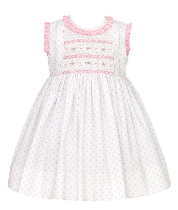 Anavini Baby / Toddler Girls White / Pink Dots Dress - Smocked in Pink with Ruffle Collar