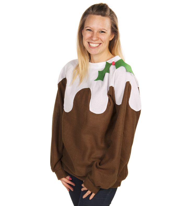Unisex Brown And White Christmas Pudding Costume Sweater