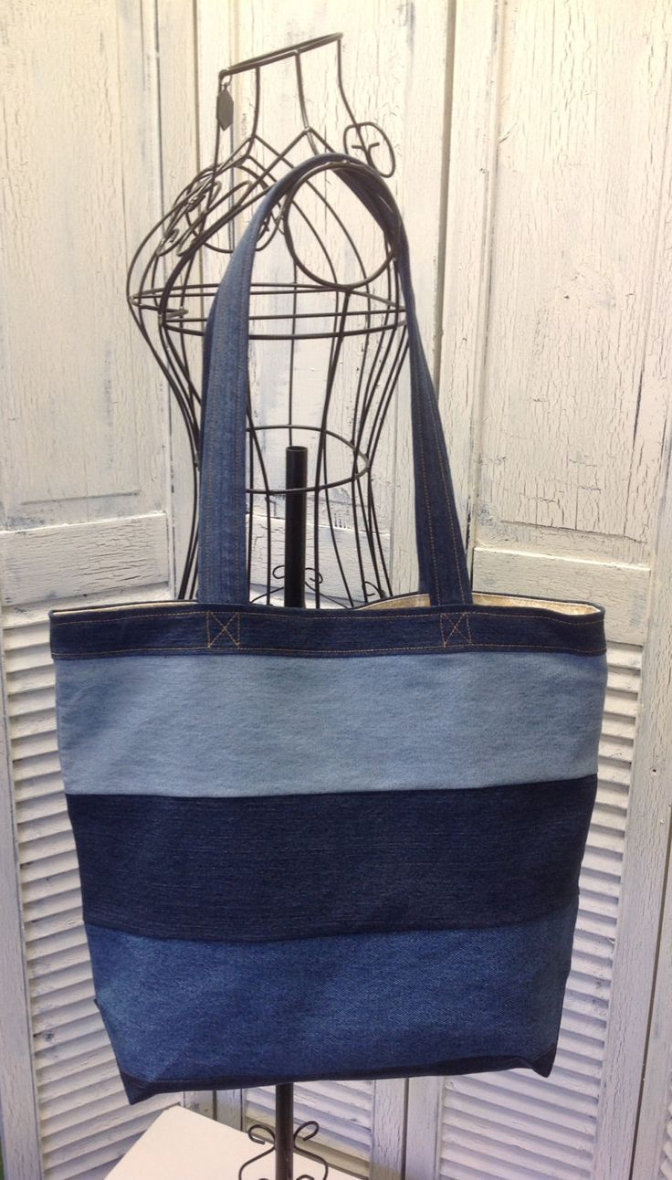 Bleu Redux Upcycle Three Panel Nautical Denim Tote (GA18) by GrandmaRietas on Etsy