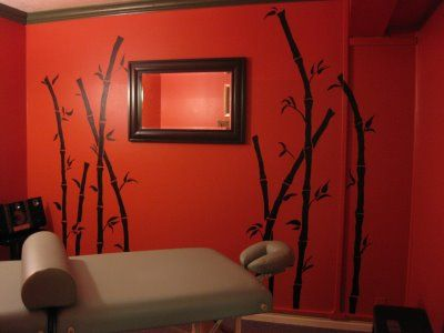 Massage Room Colors   Simple bamboo plants add so much to this small room