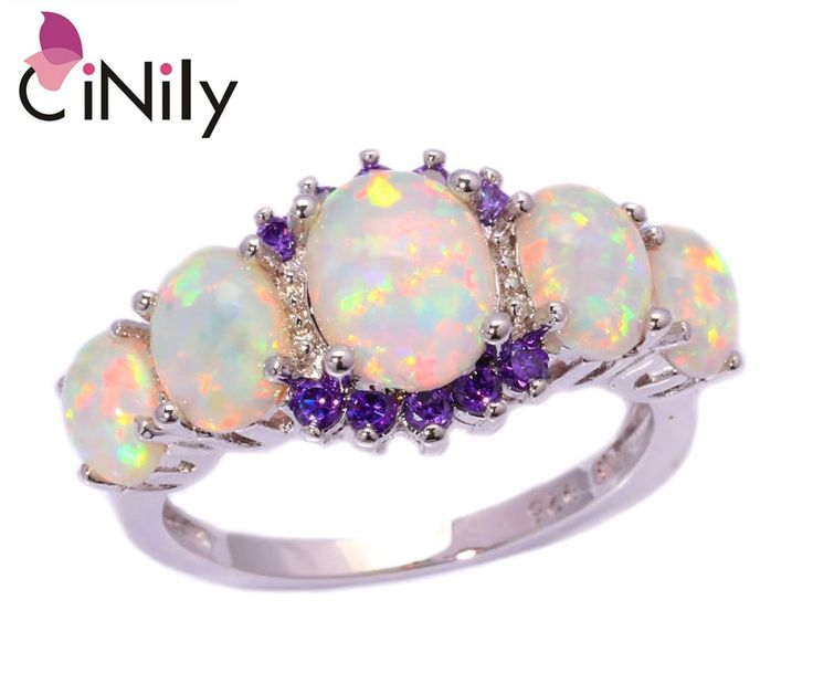 CiNily White Fire Opal Amethyst Silver Ring Wholesale Retail Hot Sell for Women Jewelry Wedding Gift Ring Size 5-12 OJ4583