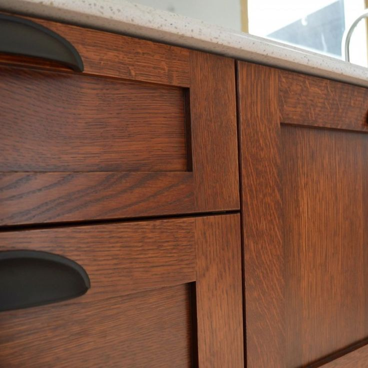 DIY Stickley Mission Finish on Kitchen Cabinets