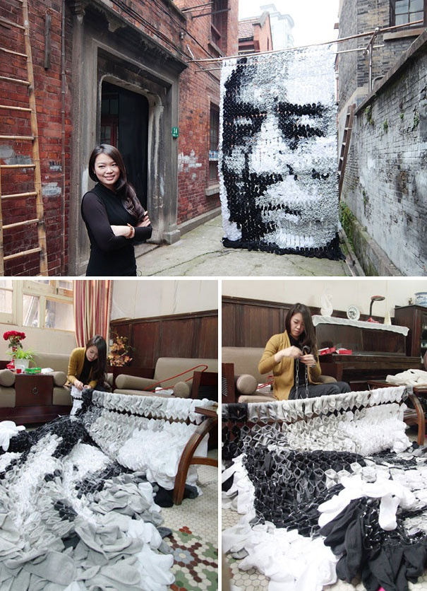 Shanghai-based artist Hong Yi, also known as Red, used 750 pair of socks to create a rather unusual sock portrait of famous Chinese film director Zhang Yimou  http://www.spireinme.com/  She's a Malaysian! Country Pride :D