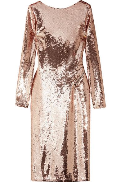 TOM FORD's midi dress is embellished with hundreds of light-catching sequins in an elegant antique-rose hue. Lined in smooth satin, it turns to reveal a dramatically cutout back that can be adjusted using the contrasting gunmetal zip. Keep accessories sleek and pared-back.