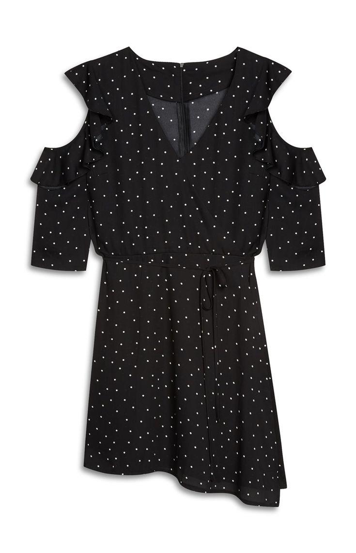 Black Spotted Cold Shoulder Dress